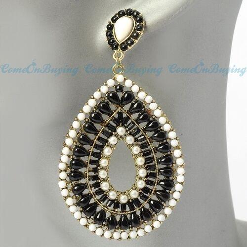 Vintage Golden Chain Black & White Water Drop Beads Chandelier Dangle Earrings
