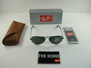 018be583007 RAY-BAN AVIATOR POLARIZED SUNGLASSES RB3025 002 58 BLACK G-15 XLT ...