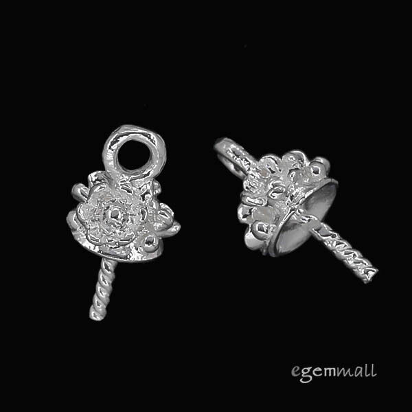 2 Sterling Silver 3D Flower Eye Pin Pearl Cup Pendant Charm Connector Bail 97063