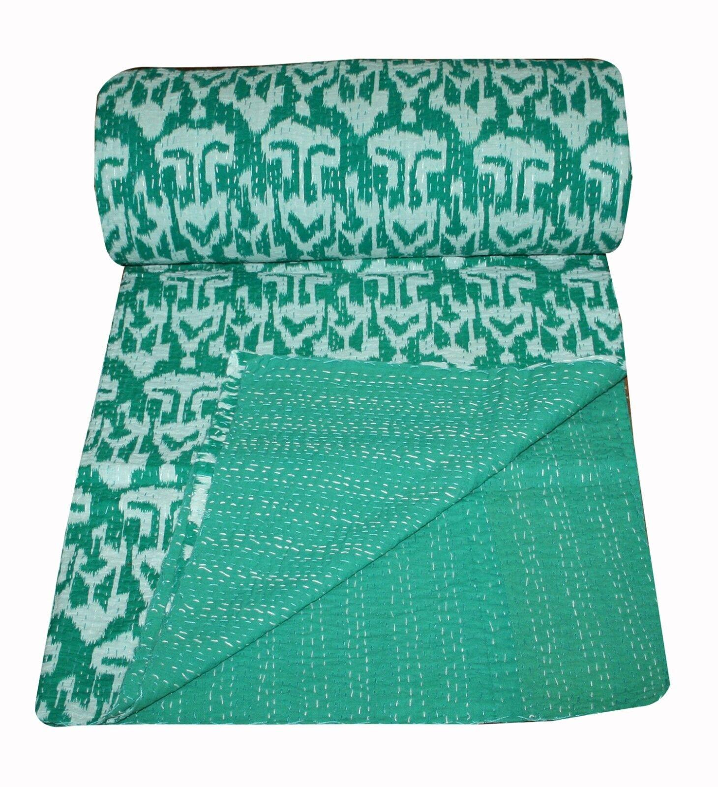 Vintage Indian Cotton Ikat Handmade Kantha Quilt Bedspread- Queen Throw Decor