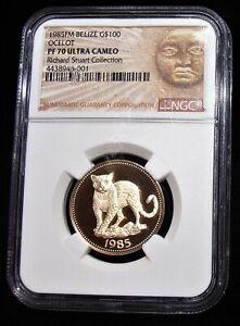 Belize-Ocelot-or-Preuve-100-Dollars-1985-Fm-PR70-Ultra-Camee-Ngc-Haut-Grade