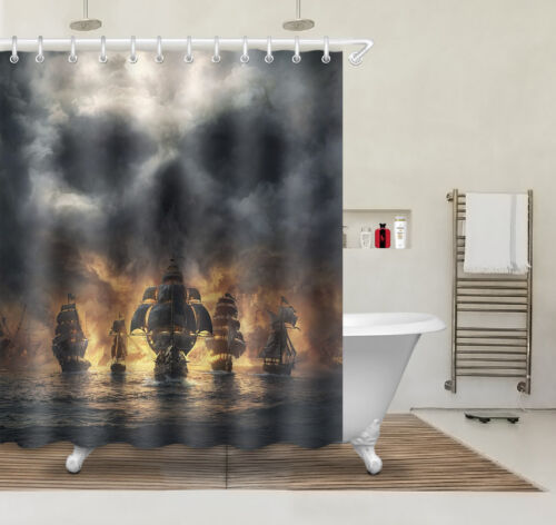 "60x72/"" Waterproof Fabric Shower Curtain Hooks Storm Ocean Sailing Ship Scenery"