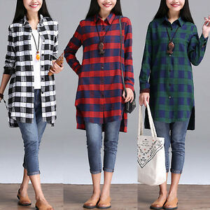 Women long sleeve lapel casual plaid checked tops button for Women s plaid button down shirts