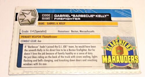 G I JOE File I.D Card Filecard 30th Anniversary 2011 Gabriel Barbecue Kelly V6