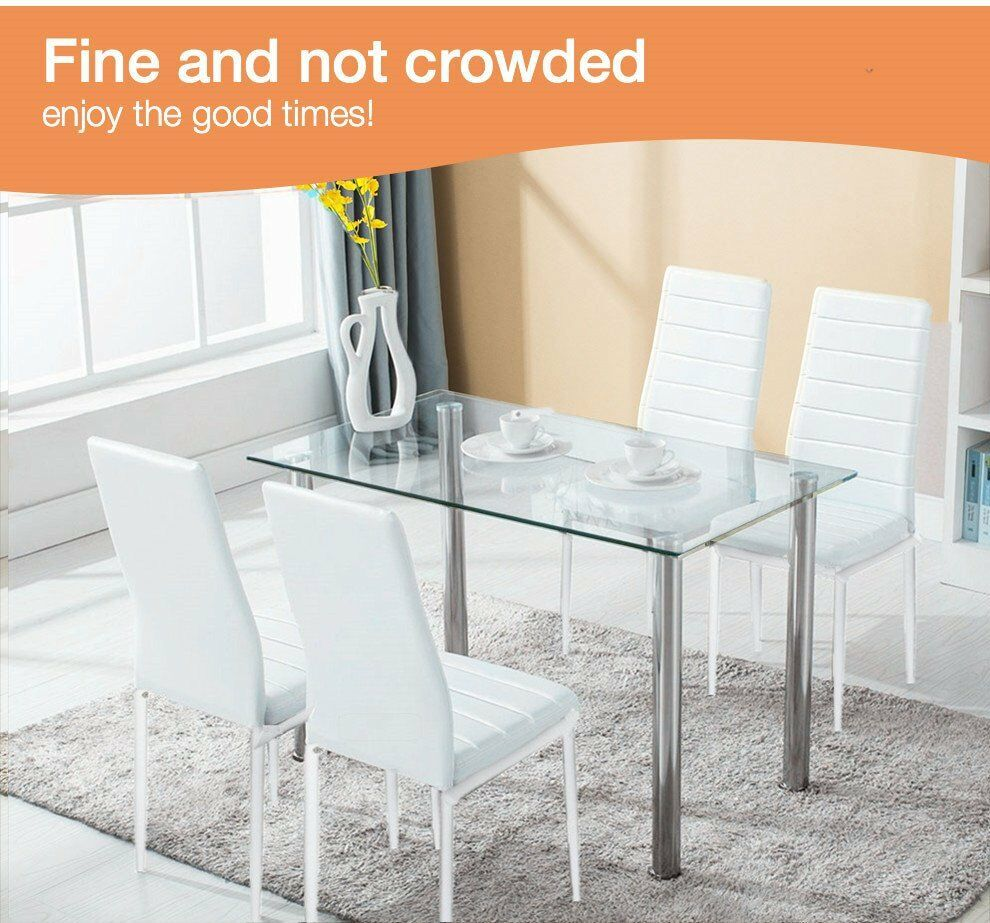 5 Piece Dining Table Set Rectangular Glass Table 4 Chairs Kit Durable  Kitchen Room Breakfast Furniture E1