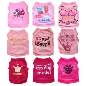 Pink-Girl-Dog-Clothes-Pet-Cat-Apparel-Costume-Puppy-Summer-Shirt-Vest-XS-S-M-L