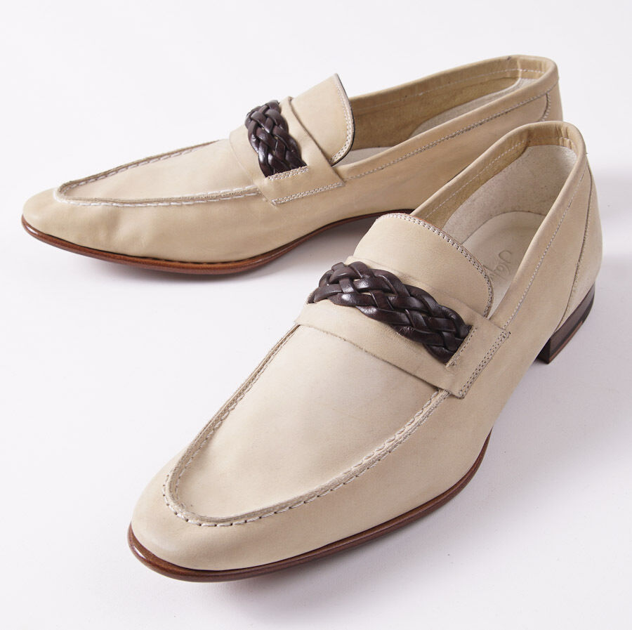 NIB KITON Ivory Beige Leather Loafers with Braided Detail US 9 D Shoes
