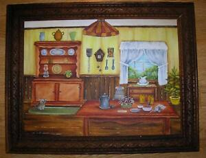 FOLK ART KITCHEN COFFEE TEA POT KITCHEN BAKING COOKING PIE SAFE OIL ART PAINTING