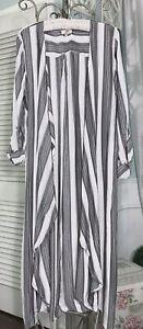 NEW-Plus-Size-2X-Black-White-Open-Kimono-Duster-Topper