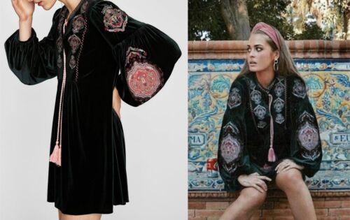 De Brodée Broderie Robe Robe Florale Velours Velours Mini Zara Dress De 7wXxaqtEv