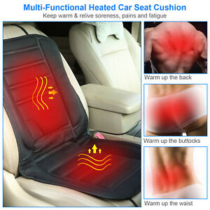 Universal Heated Car Seat Chair Cushion 12V Warmer Pad Hot Cover Breathable Pad