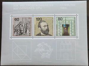 Germania-1984-CONGRESSO-DELL-039-UPU-Amburgo-foglio-in-miniatura-UM-Gomma-integra-non-linguellato-R3