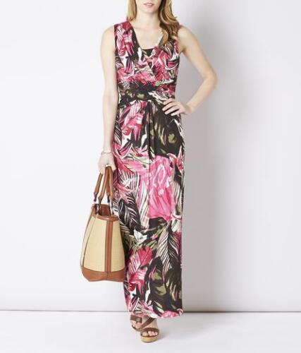 New Viyella Ladies Pink Floral Jersey Summer Maxi Dress Size 8-16 Sleeveless