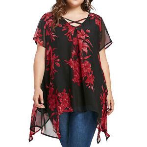 Plus-Size-Black-Red-Floral-Print-Chiffon-Blouse-Sizes-20-22-24-26-28