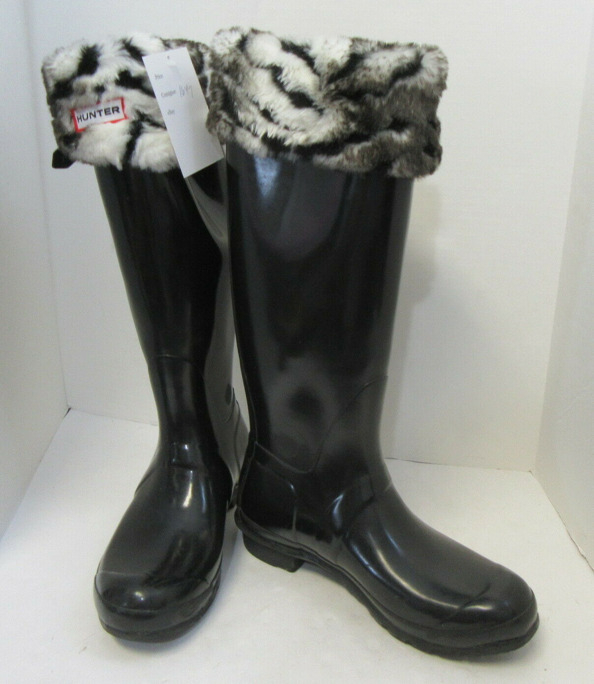 HUNTER Black Tall Rain Boots w/ Fleece Zebra Sock… - image 2