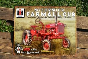 Farmall Cub Tractor Tin Sign - McCormick-Deer<wbr/>ing - IH - International Harvester