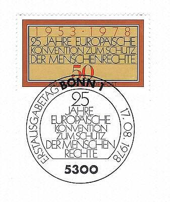 DemüTigen Brd 1978: Menschenrechtskonvention Nr. 979 Mit Bonner Ersttagsstempel! 1a! 1707