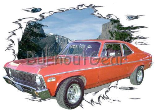1972 Red Chevy Nova Custom Hot Rod Mountain T-Shirt 72 Muscle Car Tees