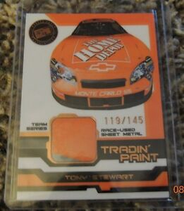 Tony Stewart Tradin paint 2 color card Race -Used Sheet Metal #119/145