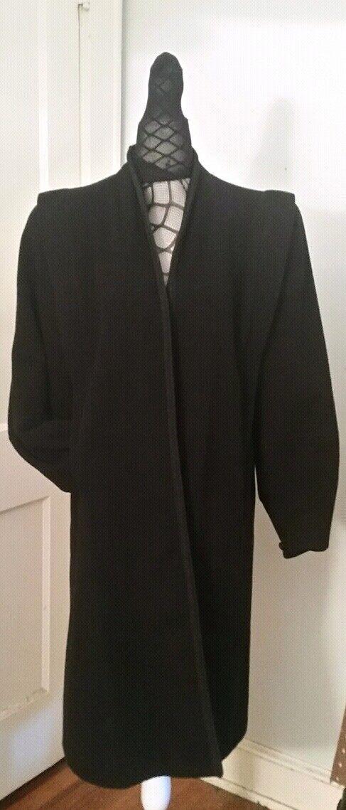 VTG 50s Wool Opera Overcoat Pillared Shoulder Braided Trim Gorgeous Tapered Cuff