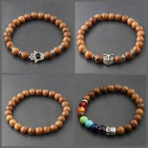 Amical Fashion Men's 8 Mm Multicouche En Bois Perles Stretch Yoga Reiki Femmes Bracelets-afficher Le Titre D'origine