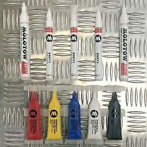 Molotow-One4All-5x-Set-of-Solid-Paint-Strip-Tubes-5-Empty-Markers
