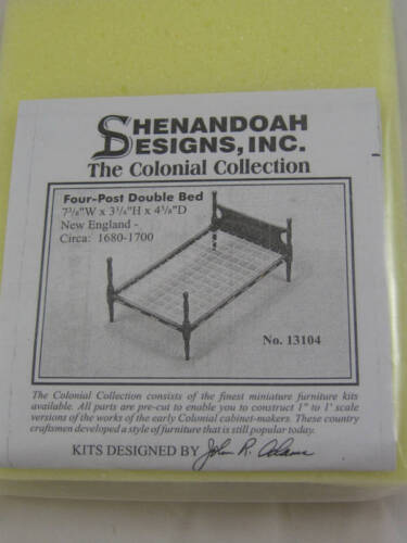 Kit Four Post Double Bed dollhouse furniture Houseworks 13104 unfinished wood