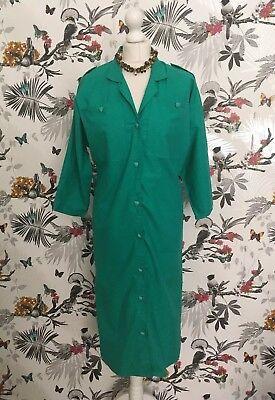Utile * Vintage * 80s Verde Cotone Elasticizzato Triangle Abito Taglia 14 In Buonissima Condizione Land Girl-mostra Il Titolo Originale Rafforza Tendini E Ossa