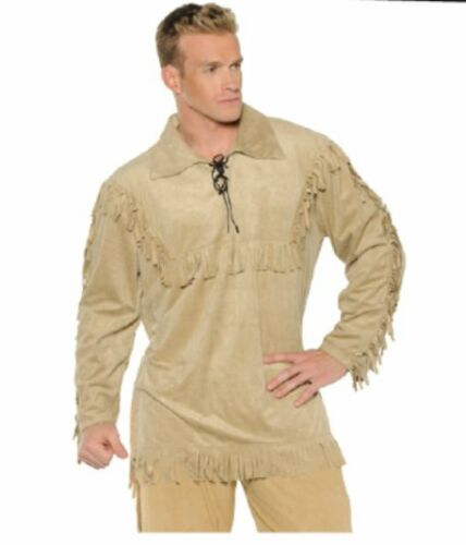 FRONTIER DAVEY DAVY CROCKETT PIONEER INDIAN DANIEL BOONE ADULT COSTUME SHIRT