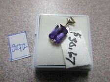 GENUINE HUGE EMERALD CUT PURPLE AMETHYST STERLING SILVER PENDENT ONLY GORGEOUS