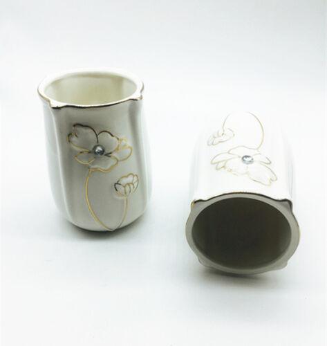 5pcs Bathroom Ceramic Bath Accessory Set Soap Dispenser Dish Toothbrush Holder