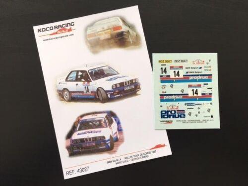 DECAL 1:43 BMW M3 Gr RALLYE TOUR DE CORSE 1987 DUEZ // G BIARD A  #14 M