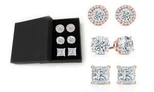 Set-of-3-18K-Rose-Gold-Plated-Sterling-Silver-Earrings-Swarovski-Crystals