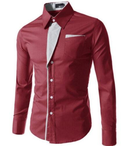 Fashion Men/'s Casual Shirts Business Dress T-shirt Long Sleeve Slim Tops Blouse