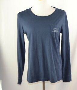 Vineyard-Vines-Womens-Navy-Blue-Whale-Logo-Long-Sleeve-Pocket-T-Shirt-Size-Small