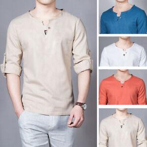 Men-039-s-T-Shirt-Cotton-Long-sleeve-Hippie-Shirt-V-Stand-collar-Beach-Yoga-M-5XL