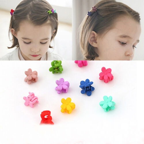 10x Mixed Mädchen Mini Kleine Kunststoff Blume Haarspangen niedlich-nadel Klauen