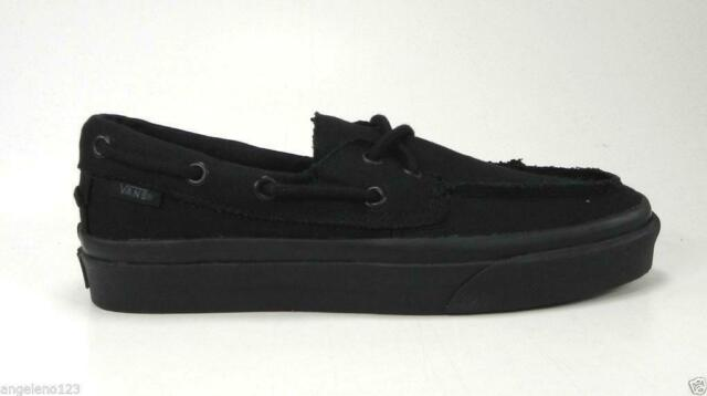 d10ec5c05851 VANS Zapato Del Barco Boat Shoes All Black Canvas Women Sneakers VN-0XC3186