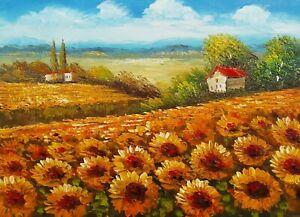 Dettagli su Dipinto Olio su Tela - 50x70 cm - Paesaggio con Girasoli -  Quadro Fiori Fiorito