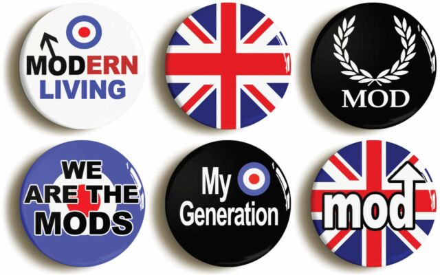 6 x MOD SIXTIES RETRO BADGES BUTTONS PINS  1inch/25mm - 1960s FANCY DRESS PACK