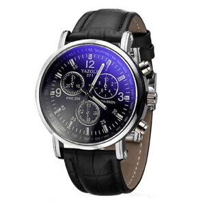 YAZOLE-Herren-Armbanduhr-Luxusmode-leder-Blue-Ray-Glas-Analog-Quarzuhr-Chrono-VP