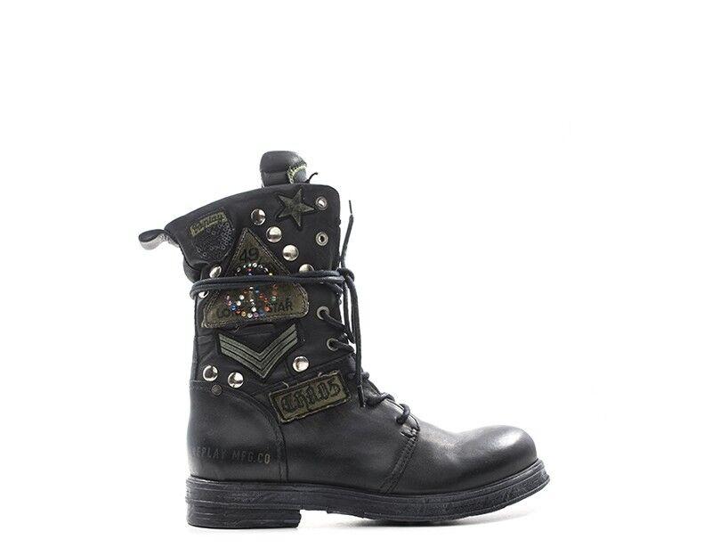 shoes REPLAY women Anfibi  black Pelle naturale RL260045L-NE