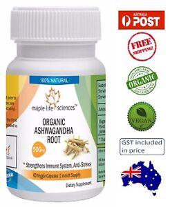 ORGANIC-Ashwagandha-Root-Capsules-Withania-somnifera-Anti-Stress-AU-Stock