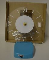 Nw Clock Acrylic Clear Blue Retro Battery Large 6.25 Face Home Dorm Time Led