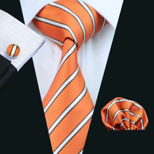 Orange Weiß Streifen Seide Krawatte Set Einstecktuch Knöpfe Hochzeit K381
