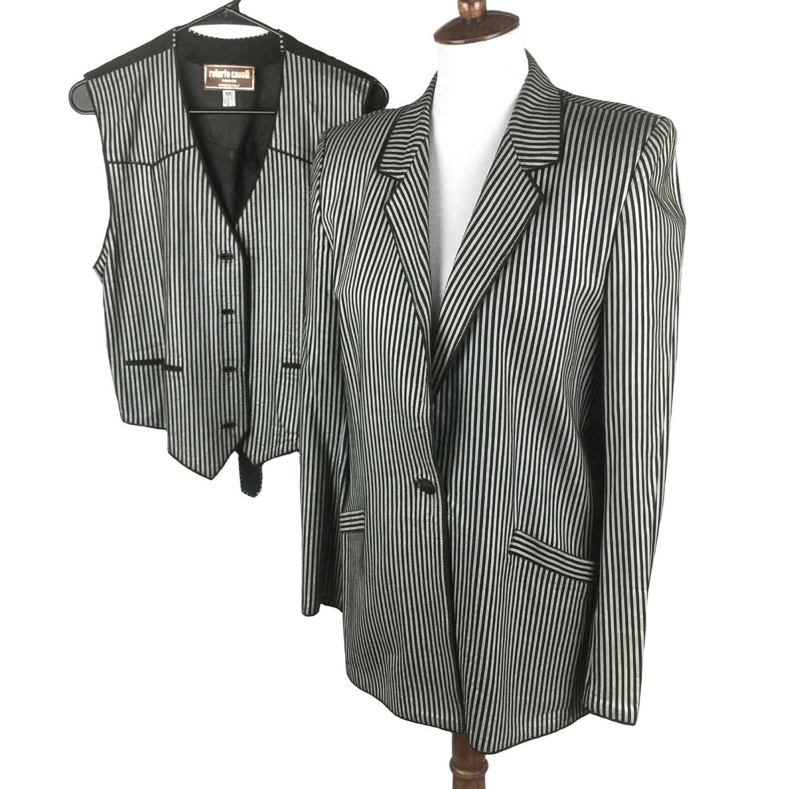 Roberto Cavalli Firenze Womens Pinstripe Leather Blazer Vest Set SZ M