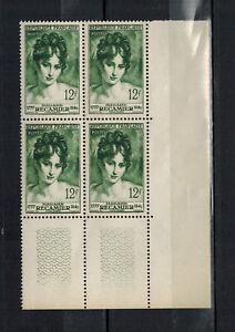 1950-BORD-DE-FEUILLE-de-4-TIMBRES-NEUFS-Mme-RECAMIER-STAMP-FRANCE-Yt-875