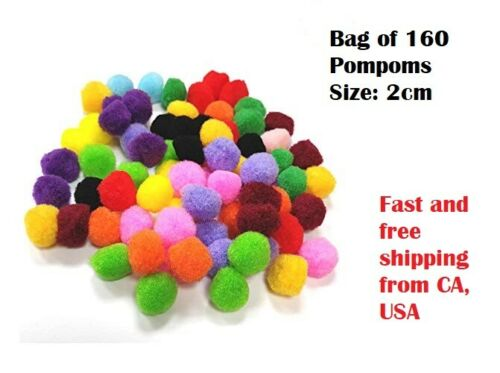 160 pcs Assorted Color Pompoms Arts and Crafts Pom Poms Balls 4 Hobby Supplies