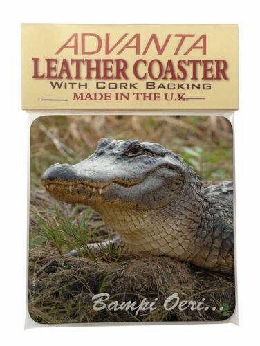 Welsh Crocodile /'Bampi Oeri/' Single Leather Photo Coaster Animal Bree AR-C1boSC