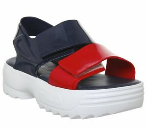 Womens-Fila-Melissa-X-Fila-Sandals-Navy-Red-Sandals